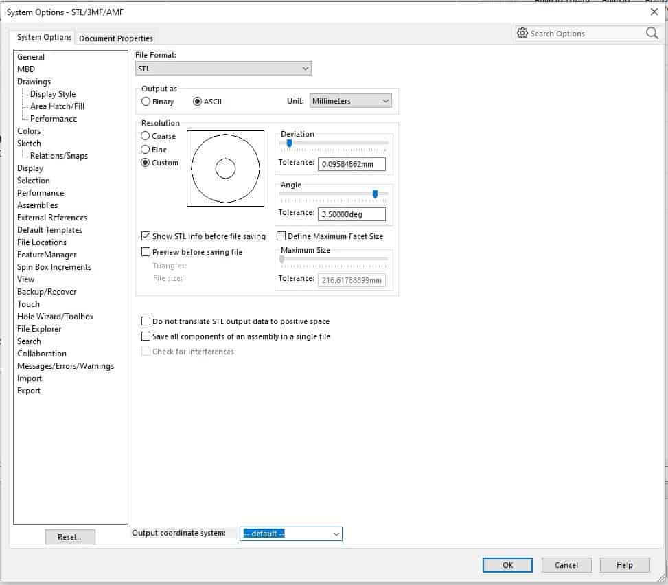 Solidworks Best STL Export Settings for 3D printing